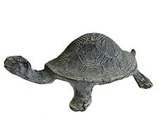 tortue animaux statue sculpture de decoration de jardin en fonte 22cm grise