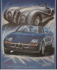 BMW Z1 und 328 MM Roadster Cabrio 1000 Miglia Kunstdruck Original Ferreyra-Basso