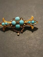ANTIQUE 9ct GOLD DIAMOND & TURQUOISE ? BROOCH