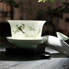 handpainted bird print porcelain cup bowl set with lid saucer under glaze gaiwan