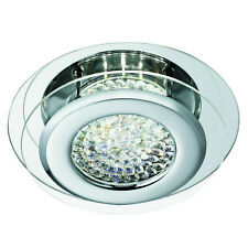 Vesta Chrome LED Flush Ceiling Light Fitting Modern Crystal Centre Decoration