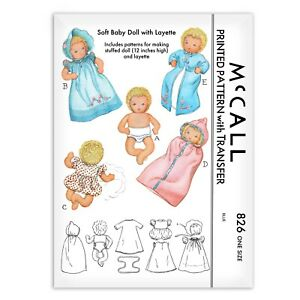 """Baby Doll Sewing Pattern McCall s 826 Layette Rag Cloth Toy Stuffed Romper 12"""""""