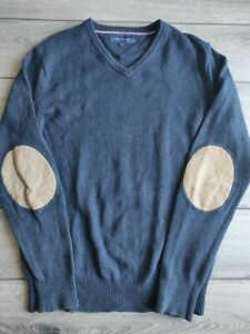 Men's Vintage Tommy Hilfiger Navy Blue Cotton And Lambswool Jumper Size M