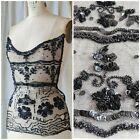 Antique Victorian - 1920s Black Net Beaded Sequin Appliqu Dress Bodice Blouse