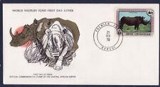 WWF enveloppe 1er jour   Centrafrique  le rhinocéros blanc