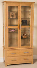 Oslo 100% Solid Oak Glass Display Cabinet Unit Wood Storage Furniture Brand New