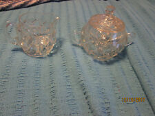 Beautiful Heavy Cut Etched Glass Crystal Creamer & Sugar Bowl with Lid NICE