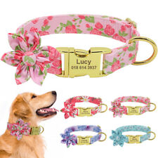 Fancy Nylon Personalised Dog Collar Soft Pet Puppy Walking Collar Name Engraved