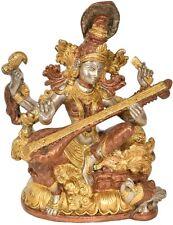 """NICE Saraswati Play Veena Jai God Statue 11.5"""" Triple Brass Hindu Figure 5.5 KG"""