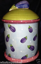 "ESSEX COLLECTION BOIS D'ARC TUTTI FRUTTI 9"" MEDIUM CANISTER EGGPLANT PORTUGAL"
