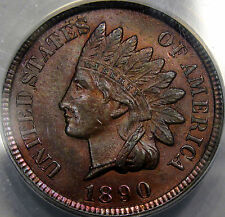 1890 Indian Head Cent Choice BU ANACS MS-63 RB... Very Nice and Original! Pretty