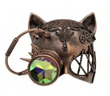 Copper Steampunk Kitty Cat Woman Costume Half Mask with Goggle Adult Masquerade