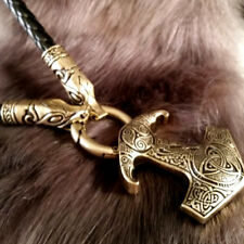 Viking Thor's Hammer Bronze Wolf Leather Necklace Celtic SCA LARP Norse