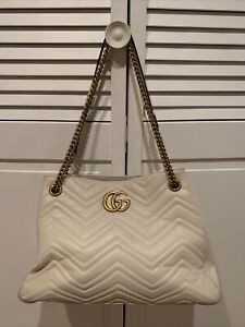 Gucci GG white leather medium Marmont Matelasse shoulder bag
