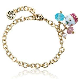 """Little Miss Twin Stars 14K Gold Plated Cupcake Cluster Charm Bracelet 5.5"""""""