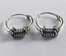 Pair Of Sterling Silver Bali Barrel Hoop Earrings 10 mm  !!     New  !!