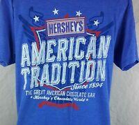 Hersheys Chocolate World Las Vegas Blue Size Large Factory Distressed T-Shirt