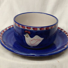 VIETRI ITALY VIE143 CUP & SAUCER CHICKEN ROOSTER RED PEAR BLUE BAND RED DOTS
