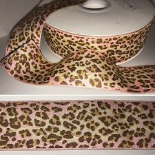 """Ribbon Leopard Cheetah RENAISSANCE RIBBONS Woven PINK Gold Brown 1.5"""" Wide BTY"""