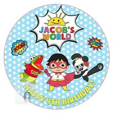 RYANS WORLD CAKE TOPPER ROUND PERSONALISED EDIBLE PRINTED ICING DECORATION