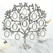 Silver Family Tree Picture Frame Display w/ 12 Hanging Picture Photo Frames DH67