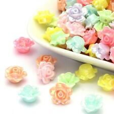 BULK 500 pcs 12mm Acrylic Assorted Pastel Color Flower Rose Jewelry Craft Beads