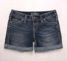 Z149 Silver Jeans McKenzie SHORTS Low Rise Stretch Denim Tag sz 27 (Mea 28x4)