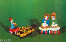 1969 Russian postcard Dymkovo Toys Neighbours and Jester In A Cart With Pigs
