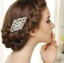 Vintage Style Silver Tone Rhinestone Crystal Hair Comb Wedding Head Accessories