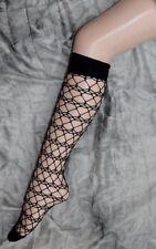 Black Knee High Web Fishnet Socks Halloween One Size