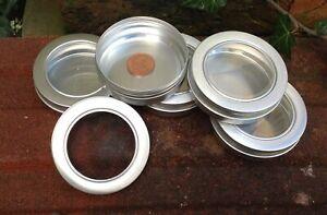 Round Metal Tin with Window Lid 100ml *Camping Storage Survival Stash Pot *NEW