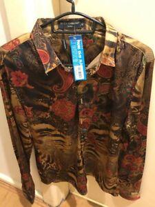 Dolce &Gabanna Men Long Sleeve Mafia Shirt New Brown Flowers