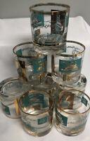 Southern Comfort Rock Glass 8 Steamboat River Boat Libbey Glass Gold Rim Vintage