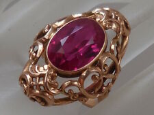 Solid 14K ROSE Gold Designer Ring Ruby 9 ct Gemstone Vintage Custom Jewelry