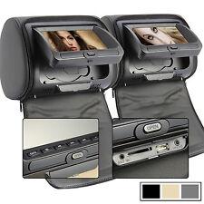 "2x7""INCH  LCD FM Radio Car Monitor Pillow Headrest DVD CD Player USB/SD Games IR"