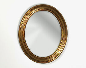 Vintage Small Oval Gesso & Gilt Gold Leaf Wall Mirror - French Antique Style