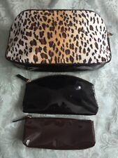 UNBRANDED ANIMAL PRINT MAKEUP BAG WITH 2 PATENT SMALLER BAGS