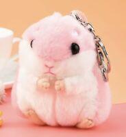 "Hamster Plush Stuffed Animal Toy Keychain Pink 3.5"" US Seller"