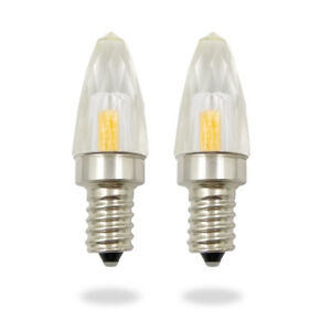 E14  K9 LED Crystal Light Bulb 3W 110V Dimmable Clear Candle Light Warm White