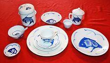Koi Carp Fish Blue on White China Handpainted - 83 Piece Set - MINT