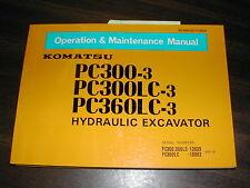 Komatsu PC300-3 PC360LC-3 OPERATION MAINTENANCE MANUAL EXCAVATOR OPERATOR GUIDE
