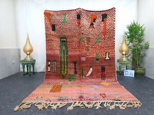 """Moroccan Boujaad Handmade Rug 5'6""""x8'8"""" Berber Patchwork Red Orange Wool Rug"""