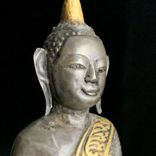 Antique Cambodian silver hand-tooled repoussé w/gold leaf Buddha 18th-19th c