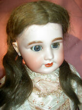 Gorgeous FRENCH antique bisque DEP 10 Jumeau doll, pierced ears, j'td. wood body