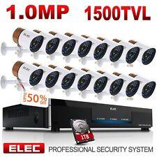 ELEC 16CH 1500TVL HDMI DVR IR-CUT Outdoor Home CCTV Security Camera System 1TB