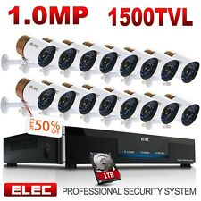 ELEC 16CH 1500TVL HDMI CCTV DVR IR-CUT Night Vision Security Camera System 1TB