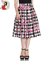 HELL BUNNY HARLEQUIN PLEATED SKIRT diamond FLORAL rose 50s style PINK XS-4XL