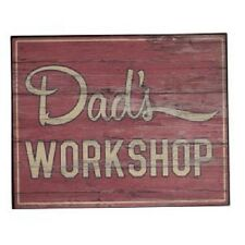 "Garden Brown ""Dad's Workshop"" Wooden Hanging Sign/Plaque Decoration 20x16cm"