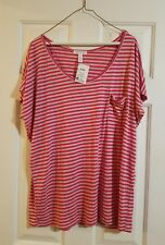 Women's striped top. Pink and tan. Size 1x. New with tags.