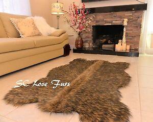"36 x 58""  Black Tip Wolf Shaggy Fur Rugs Bearskin Home Accents Rug Decor"